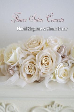 造花のホワイトテーブルアレンジフラワー通販ショップ