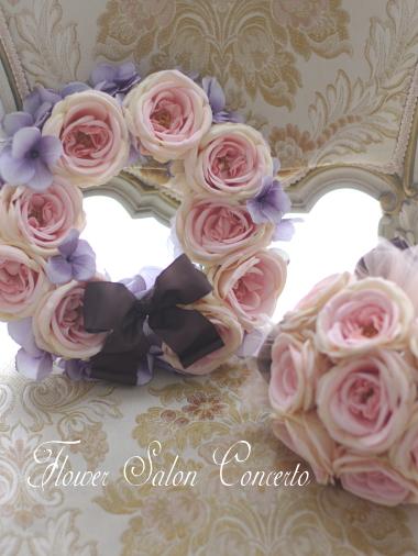 ロマンティックなピンクのローズリース
