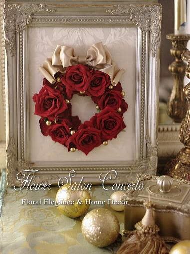 クリスマス向け赤いバラのフレームリース
