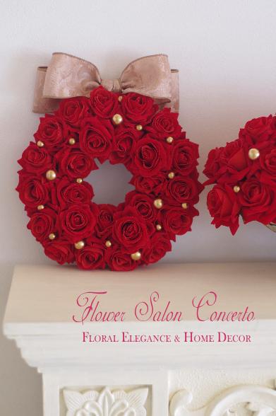 赤いバラのクリスマスリース