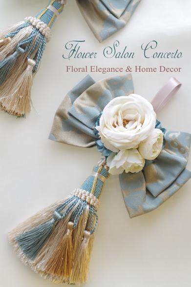 造花のリボンタッセル、ドア飾りに。アンティークなブルーゴールド